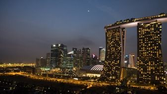 Marina Bay Sands hotels in night cityscape, singapore