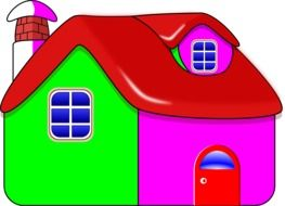 bright colorful village house, illustration
