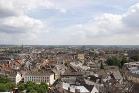 roof view of old city at summer, netherlands, maastricht