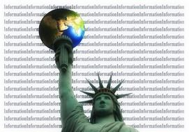 statue of liberty wih globe, collage