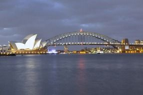 bridge and opera house at evening city, australia, sydney