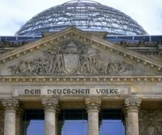 top part of reichstag building facade, germany, berlin