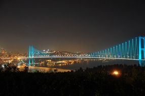 illuminated bosphorus bridge at night, turkey, istanbul
