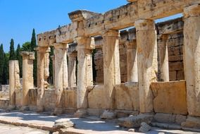 Ancient Greek ruins, columnar, turkey, Hierapolis