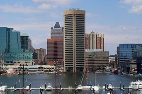 harbor at evening skyline of city, usa, maryland, baltimore