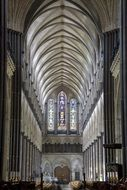 nave in interior of Cathedral Church of the Blessed Virgin Mary, uk, england, salisbury