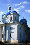 orthodox cathedral with blue domes, russia