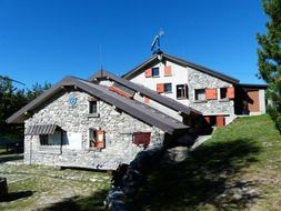 Mountain huts for tourists among the Alps