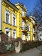 old yellow house with balconies, germany, berlin