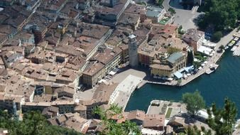 aerial view of old city with port, italy, riva del garda