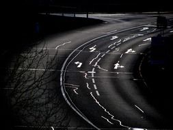roads curves streets darkness