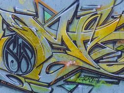colorful lettering, graffiti on wall