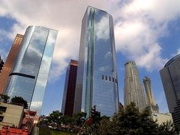 skyscrapers in city, low angle view, usa, california, los angeles
