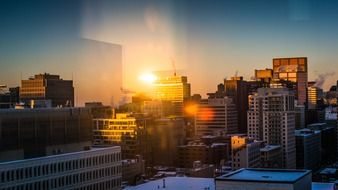 city at winter sunset, canada, montreal