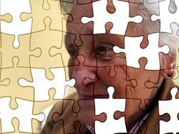 puzzle pattern on old person's face