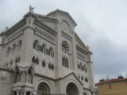 Cathedral of Our Lady Immaculate at cloudy sky, france, monaco