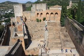 panoramic view of the ruins of the architectural ensemble of the Alhambra