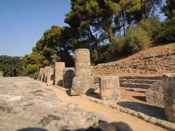 ancient temple of hera ruin, greece, Olympia Archaeological Site