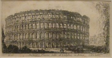 colosseum, flavian amphitheater, aged artwork