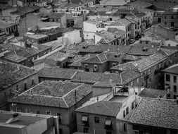 roof view of old town, black and white