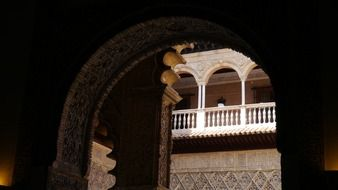 palace balcony with balustrade, spain, sevilla, alcázar