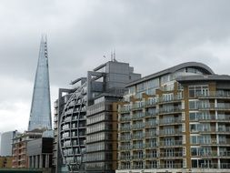 original modern buildings at shard skyscraper, uk, england, london