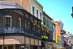 picturesque facades of old buildings in city, usa, Louisiana, new orleans, french quarter
