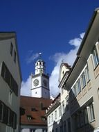 bell tower with clocks in old town