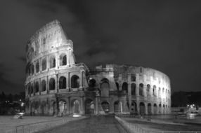 colloseum at night, black and white, italy, rome