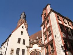 garrison church tower at hansel and gretel houses, poland, wroclaw