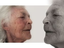 two old woman faces, collage