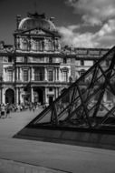 black and white picture of Louvre pyramid