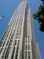 low angle view of rockefeller center, usa, manhattan, nyc