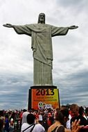 croud of people at Christ the Redeemer statue, brazil, Rio de Janeiro