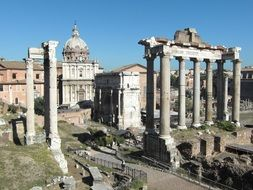 ancient roman forum ruins in city, italy, rome