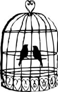two birds in vintage cage, silhouette, drawing