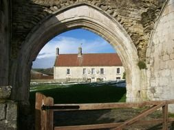 gateway of medieval priory, uk, england, kirkham