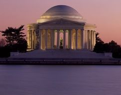 jefferson memorial at dusk, usa, washington dc