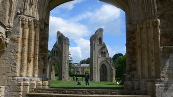 ruins of Glastnbury Abbey in England