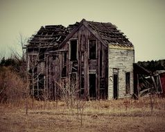 ruined abandoned wooden building at wilderness