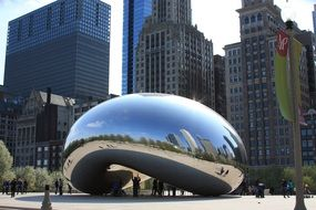 city mirroring on chicago bean, usa, illinois