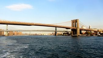 brooklyn bridge across east river, usa, manhattan, nyc