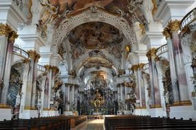 ornate interior of Zwiefalten Abbey, germany, Baden-Württemberg
