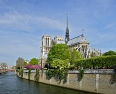 notre dame cathedral on seine river embankment at summer, france, paris