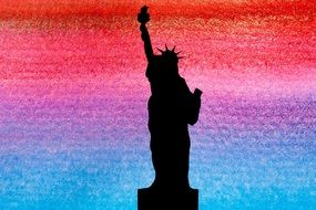 silhouette statue of liberty USA