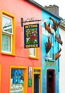 decorated colorful facade of betting shop