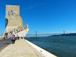 A monument to discoveries on the Lisbon embankment