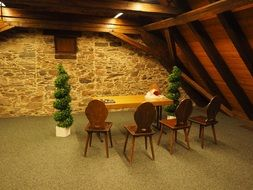 cozy interior with wooden walls, ceiling and furniture in wedding hall, germany, laufenburg