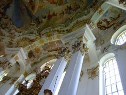 Pilgrimage Church of Wies, columns at ornate ceiling, germany, Steingaden