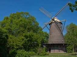 historical windmill building in holland